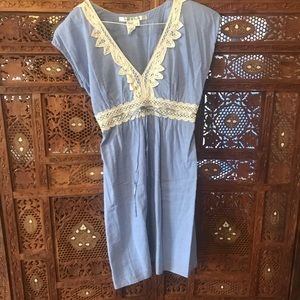 Light Blue Lace Decal Dress